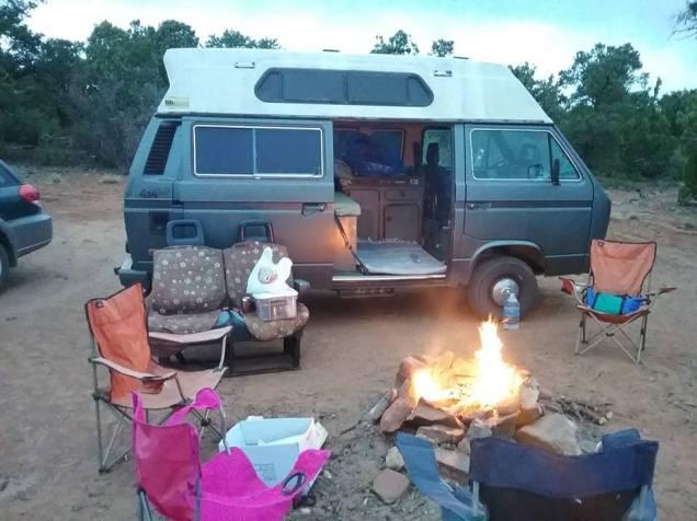 Van camping in Utah.