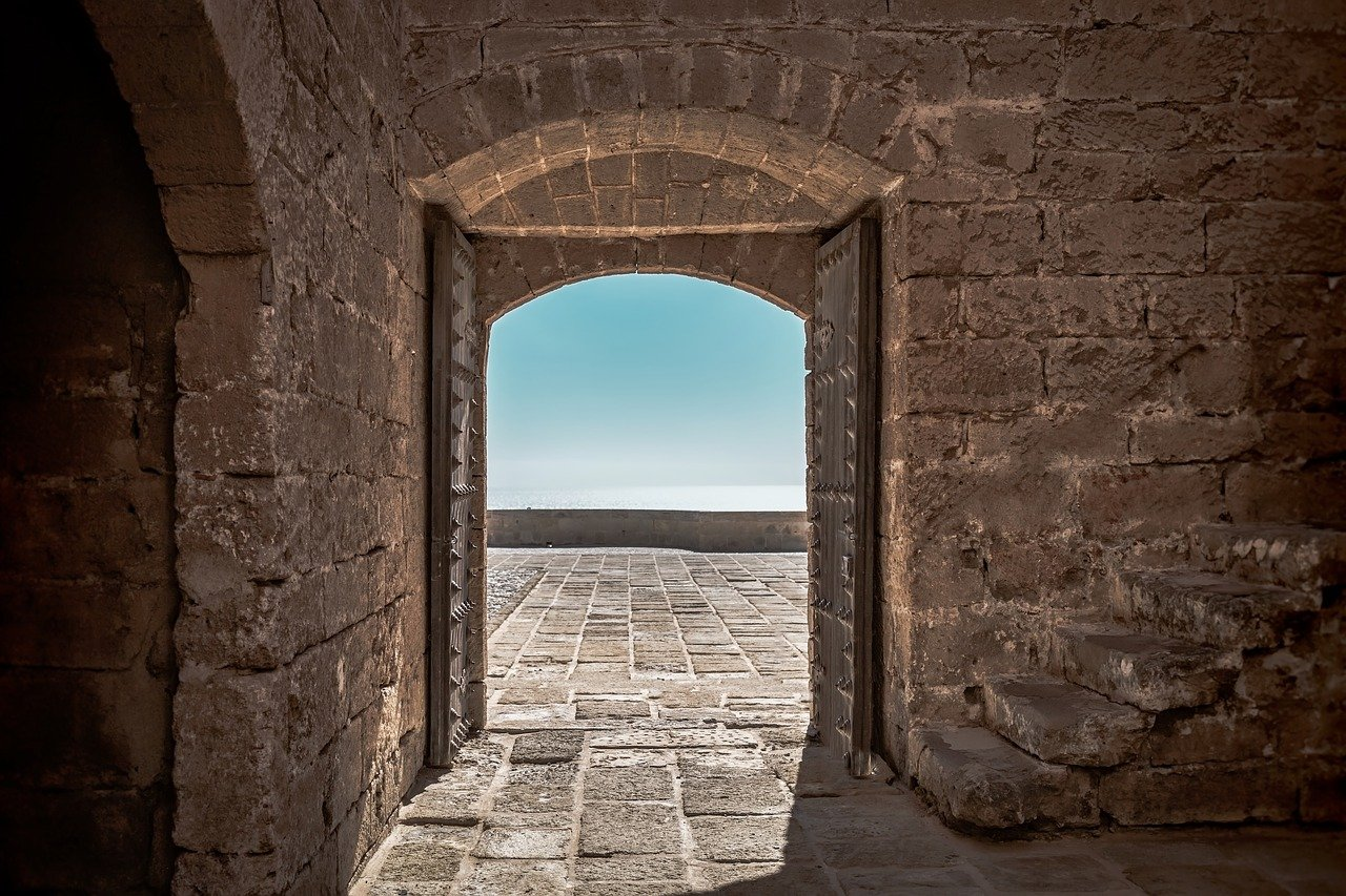 open door of old castle