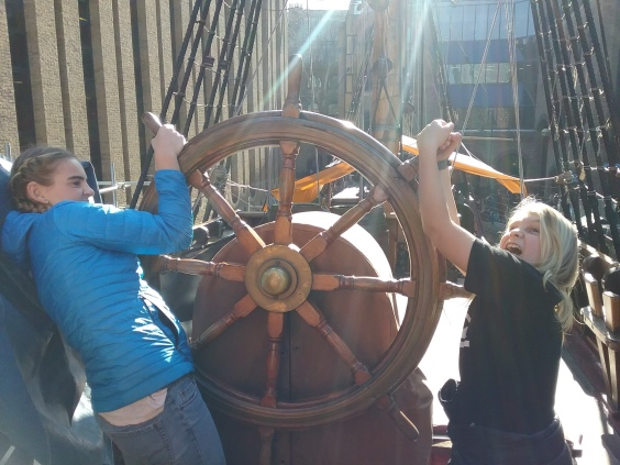 The helm of Sir Francis Drake's ship, The Golden Hinde