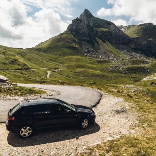 rental car through the mountains
