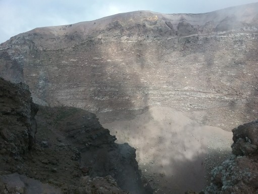 Hiking Mt. Vesuvius and the view into the crater from the rim.